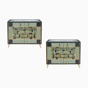 Italienische Vintage Buffets aus getöntem Glas, 1980er, 2er Set