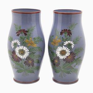 Jarrones florales antiguos pintados a mano. Juego de 2