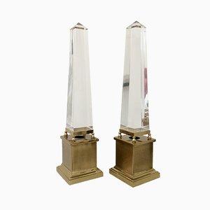Lámparas de mesa francesas con forma de obelisco de Maison Jansen, años 70. Juego de 2