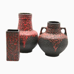 Red Lava Vases from Fohr, 1970s, Set of 3