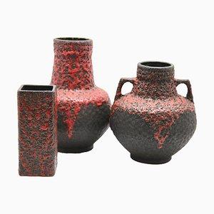 Vasi Lava rossi di Fohr, anni '70, set di 3
