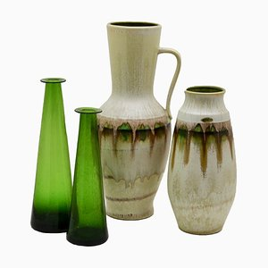 Green Vases from Jasba and Braine-le-Comte, 1960s, Set of 4