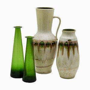 Vasi verdi di Jasba and Braine-le-Comte, anni '60, set di 4