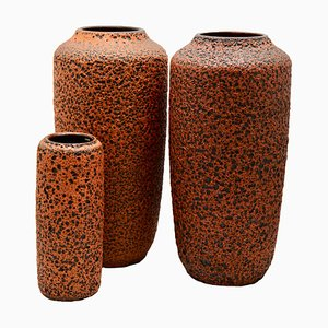 Hot Orange Fat Lava Floor Vases from Scheurich, 1973, Set of 3