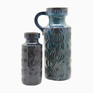 Inky Turquoise on Black Vases from Scheurich, 1970s, Set of 2