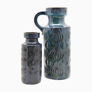Türkis-schwarze Vasen von Scheurich, 1970er, 2er Set