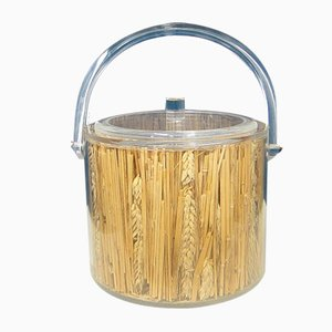 Plexiglass and Straw Ice Bucket by Christian Dior, 1970s