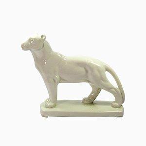 Scultura vintage a forma di leone in ceramica