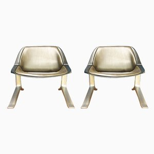 Leather, Aluminum, and Plastic Lounge Chairs by Knut Hesterberg for Selectform, 1970s, Set of 2