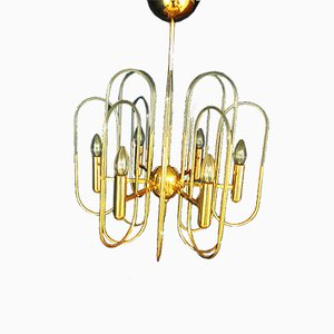 Vintage Gilded Glass Chandelier from Sciolari, 1970s