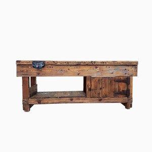 Banco industrial vintage de madera, años 60