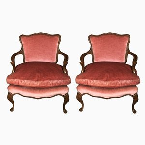 Mid-Century English Oak and Pink Velvet Lounge Chairs, Set of 2