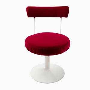 Chaise Cocktail Tulipe en Velours Rouge, années 60