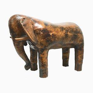 Reposapiés en forma de elefante de cuero de Dimitri Omersa para Abercrombie & Fitch, años 60