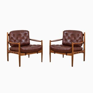 Leather LÄCKÖ Armchairs by Ingemar Thillmark for OPE, 1960s, Set of 2