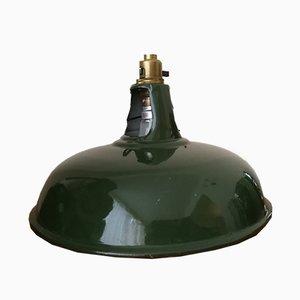 Lámpara colgante industrial vintage esmaltada en verde de Coolicon, años 20