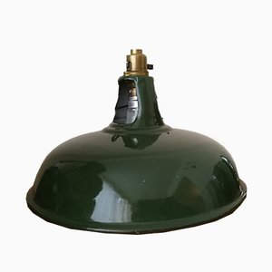 Vintage Industrial Green Enamel Pendant Lamp from Coolicon, 1920s