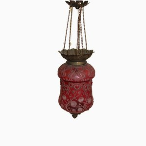 Art Nouveau Red Lantern Ceiling Lamp