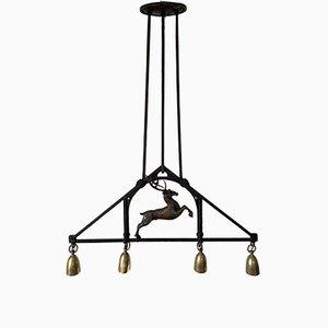 Lámpara colgante vintage con motivo de ciervos, años 30