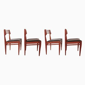 Teak and Black Leatherette Dining Chairs by Marcel Gascoin, 1960s, Set of 4