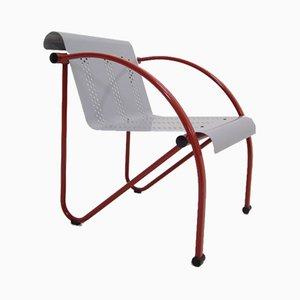 Vintage Stuhl aus rot & weiß lackiertem Metall, 1980er