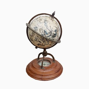 Vintage Globus aus Holz & Messing