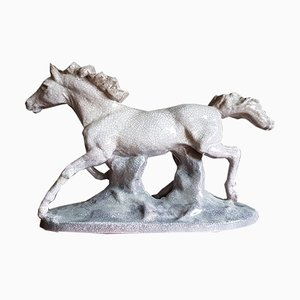Large Vintage Cracked Ceramic Horse, 1940s