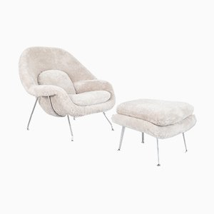 Womb Chair and Ottoman by Eero Saarinen for Knoll Inc./Knoll International, 1960s, Set of 2