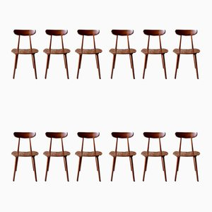 Wooden Dining Chairs from Hiller, 1950s, Set of 12