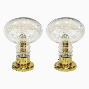 Brass and Smoked Glass Table Lamps by Luigi Colani for JSB, 1970s, Set of 2