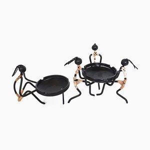 Mid-Century Aschenbecher aus Metall & Rattan von Bror Bonfils, 2er Set