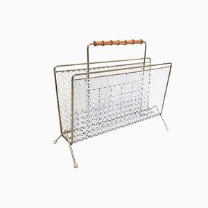 Mid-Century Perforated Magazine Rack