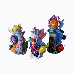 3 Graces – Winged Victory, Liberty Dynamite & Gypsy Princess Ceramic Sculpture by Tessa Eastman