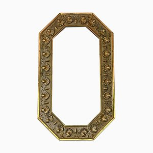 Art Nouveau Brass Overmantle or Wall Mirror, 1910s