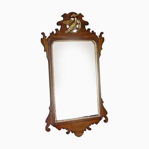 Antique Mahogany and Gilt Fret Cut Wall Mirror