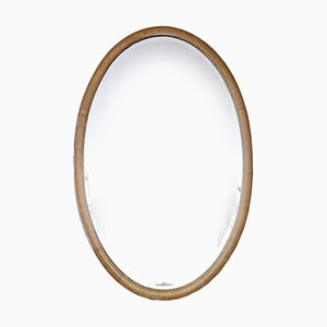Antique Oval Inlaid Mahogany Mirror