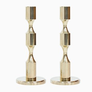Swedish Brass Candle Holders from Gusum, 1978, Set of 2