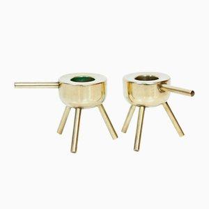 Swedish Brass Candleholders, 1960s, Set of 2