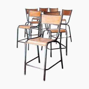 Französische Mullca Barstühle aus Birkenholz von Robert Muller & Gaston Cavaillon, 1950er, 7er Set