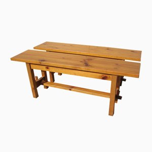 Pine Benches, 1980s, Set of 2