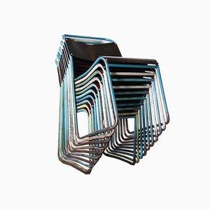 Tubular Metal Stacking Harlequin Dining Chairs, 1950s, Set of 10