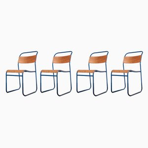 Blue Frame Tubular Metal Stacking Dining Chairs from Remploy, 1950s, Set of 4