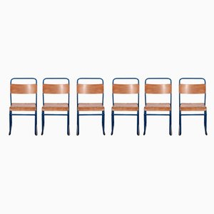 Blue Frame Tubular Metal Stacking Dining Chairs from Remploy, 1950s, Set of 6
