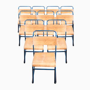 Blue Frame Tubular Metal Stacking Dining Chairs from Remploy, 1950s, Set of 10