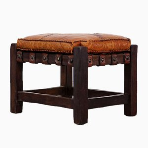 Mid-Century Wood and Leather Stool
