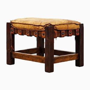 Taburete Mid-Century de madera y cuero