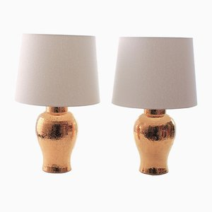 Scandinavian Modern Golden Ceramic Table Lamps by Bitossi for Luxus, 1960s, Set of 2