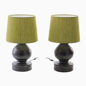 Moderne Tischlampen mit Keramikfuß & Seidenschirm im skandinavischen Stil von Bitossi für Luxus, 1960er, 2er Set