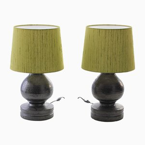 Scandinavian Modern Ceramic and Silk Table Lamps by Bitossi for Luxus, 1960s, Set of 2
