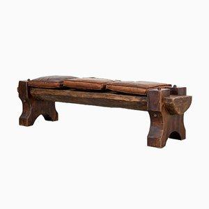Mid-Century Sitzbank aus Holz & Leder